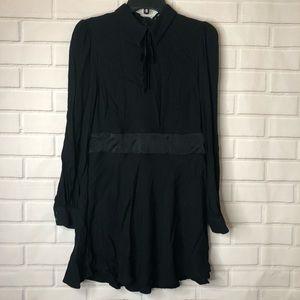 Zara Woman Black Neck Tie Long Sleeve Mini Dress